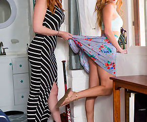 Horny milf face-sitting her tatted-up lesbian girlfriend on a bed - part 1581