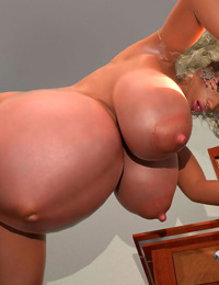 Horny busty pregnant 3d babe loves teasing while posing naked - part 431