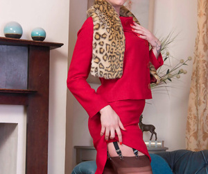 A flash of pussy and stocking tops under her skirt and the actio - part 278