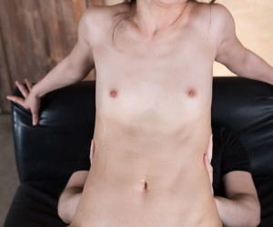Slim Japanese girl plays with creampie pussy after being gang-banged