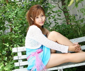 Adorable Japanese girl Reika Shiina shows her tits and twat in knee socks