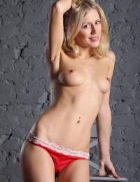 Slender blonde model Dori K slides hot panties over her nice ass to pose nude