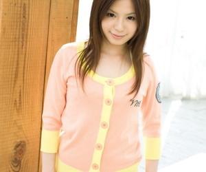 Cute Japanese teen Riri Kuribayashi frees trimmed muff from see thru panties