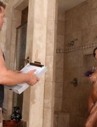 Big titted Kortney Kane seduces with shower handjob and juicy wet sucking