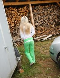 Kinky blonde teen could not resist pleasuring herself in public