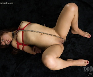 Bound Japanese girl gets cum on her face after forced throat fucking