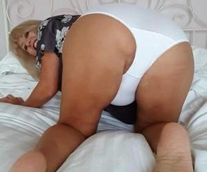 Mature fatty changes from cougar print panties to white cotton underwear