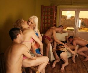 A group of older mature women get fresh facials in an eight-cock orgy