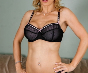 Mature 30 plus Tanya Tate models enhanced big tits & aging pussy on the sofa