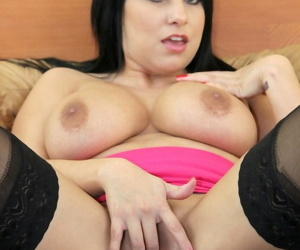 Dark haired chick Lacie James pleasures a big cock with her mouth and hooters