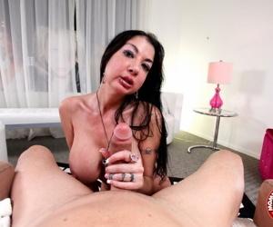Chesty MILF Nadia Night lets her mega udders loose for hot naked handjob