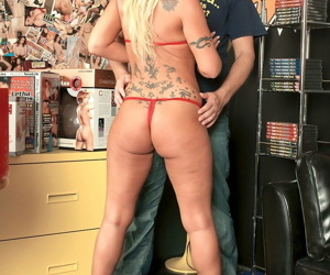 Busty MILF Julianne Spencer riding the sex shop owner for a set of underwear