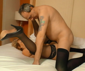 Amateur German granny Charlotte K in black stockings gets reamed by her guy