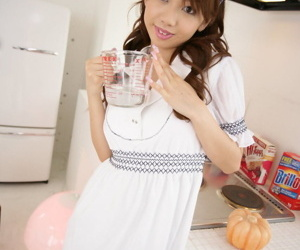 Nice Japanese teen Misato Matsu poses non nude in dress and ankle strap heels