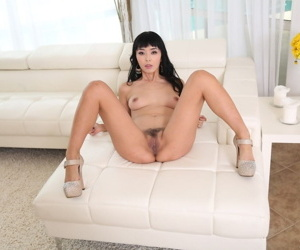 Fresh Asian porn sensation Marica Hase reveals her tight pussy hole