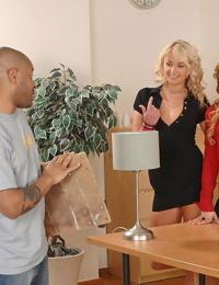Hot babe on high heels Ivana Sugar sharing a black boner with her friend