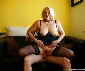 Mature European amateur in stockings deepthroating cock during hardcore sex