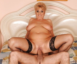 Buxom mature blonde with huge jugs gets her shaved cunt fucked hardcore