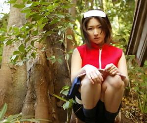 Naughty asian babe with tiny curves Saeki Mai teasing her hairy cunt