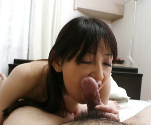 Sultry asian chick gives a sloppy blowjob and gets her shaggy twat cocked up