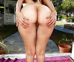 Older Latina lady Katt Ventura taking a piss on patio stones lust like that