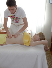 Skinny girl gets fucked on the massage table for cum on her rack