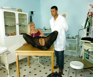 Naughty mature blonde teases her doctors hard dick and gets her bush jizzed