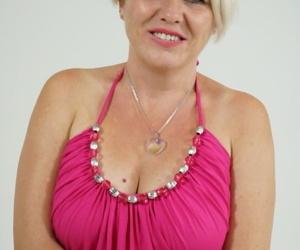 Blonde cougar with big natural breasts Bibi Pink takes stuff boner and cumshot