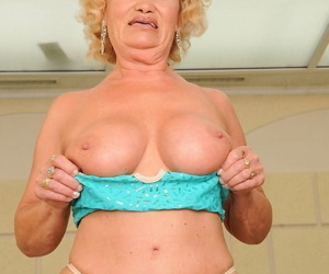 Raunchy blonde grandma Effie shows her tits and gets nailed by her gigolo