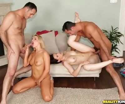 Barra Brass gets Minnie to help her with cock in crazy foursome XXX porn