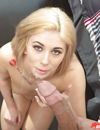 Blonde amateur Cindy Lou taking mouthful of semen after oral and vaginal sex