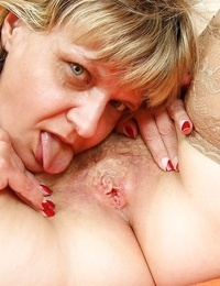 Two fatty lezzie grannies getting horny and toying with their fucktoys
