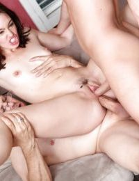 Amazing brunette Jodi Taylor is getting gangbanged by 3 cocks