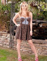 Gorgeous Asian blonde babe Mia Lelani with big boobs at the backyard