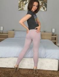 Petite amateur Jalace peels off yoga pants on way to playing with her pussy