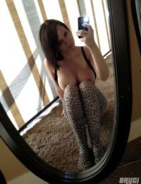 Cute doll Bryci takes selfies of her perfect ripe melons & ass