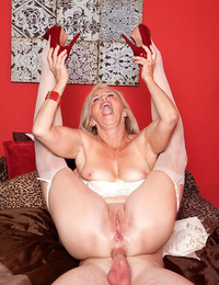 Wild granny Connie McCoy entices a youthful fellow and lets him ass tart\'s her