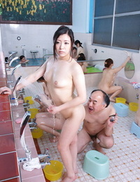 Naked Japanese women getting their diminutive tits wet kneaded in public bath