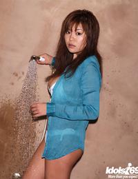 Sexy asian stunner with big tits Yoko Matsugane taking shower in bikini