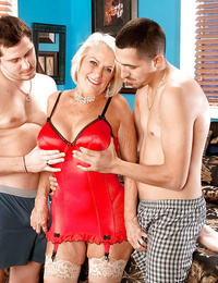 Big-titted light-haired granny Georgette Parks railing 1 man and buxom another