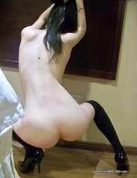 Lovely selection of an asian honey showing her bushy cunt - part 263