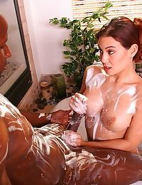 Massage artist Ryder Skye plies her trade with wet footjob and oiled body rub