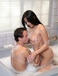 Naked Asian beauty Mia Lelani giving a soapy handjob & titjob combo in bathtub