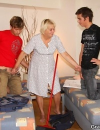 Molten old cleaning lady is on their bed with a shaft in her seeping pussy and facehole - part 2814