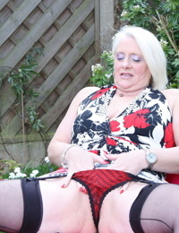 Horny british housewife getting messy in the garden - part 3460