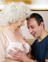 Lusty grandma takes a jizz flow after having sexual relations with young paramour