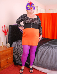 Dirty granny in purple tights Fanny playing herself for a Halloween