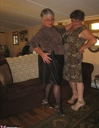 Old women unclothe down to matching girdles before baring floppy hooters and beavers