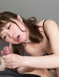 Adorable Japanese woman Katou Tsubaki sucking dick and munching spunk after hand job
