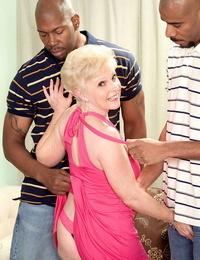 Wonderful granny Nub has a threesome encounter with 2 black tender
